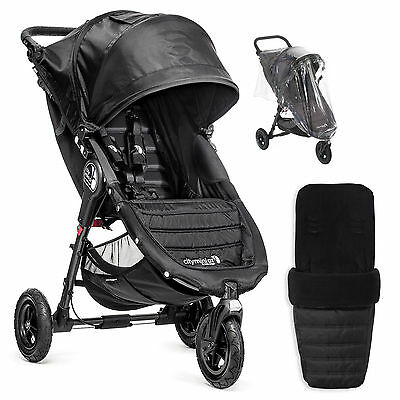 New Baby Jogger Black City Mini G.t Stroller Pushchair With Footmuff & Raincover
