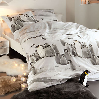 hnl flanell biber bettw sche pinguine snow grey schnee winter grau 155x220 cm eur 47 50. Black Bedroom Furniture Sets. Home Design Ideas