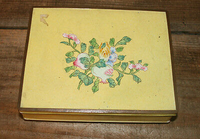 ANTIQUE CHINESE CLOISONNÉ Yellow ENAMEL FLORAL METAL HINGED PLAYING CARD BOX