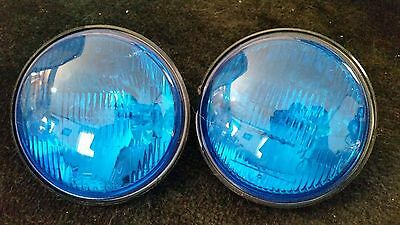 PAIR Used GE H4449B H4449 4449 Blue Sealed Beams with Black Trim