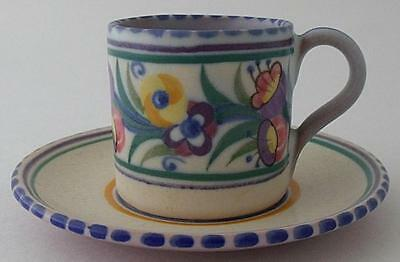 Rare Early Poole Pottery EE Fuchsia Cup And Saucer Duo By Ruth Pavely - Art Deco