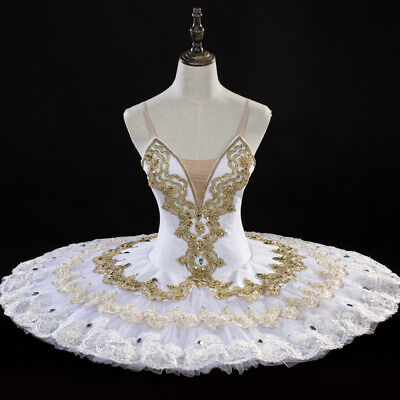 Classical Professional Ballet Tutu White Gold Made To Your Size ReadyIn 3-4Weeks