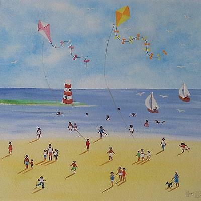Lovely Judy Joel Original Gouache Painting - Beach Scene With People With Kites