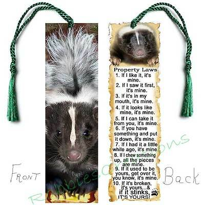 Large SKUNK BOOKMARK w/Tassel Property FUN Laws/Rules Art CARD Figurine Ornament
