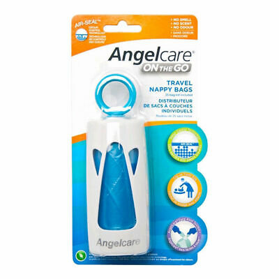 Angelcare On The Go Portable Baby Nappy/Diaper Disposal Dispenser Bag/Air Seal