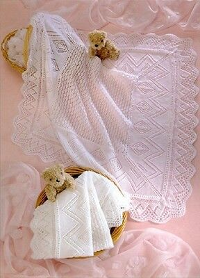 Baby SHAWL Knitting Pattern Copy Knitted in  in 3 and 4 ply