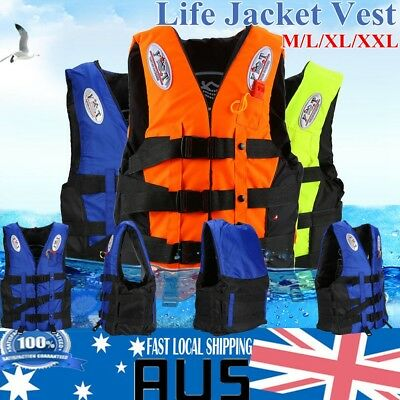 New Polyester Adult Life Jacket Universal Swimming Boating Ski Vest+Whistle Good