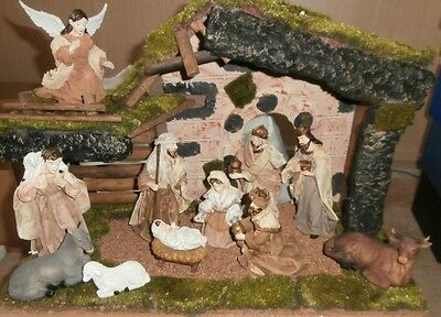 Christmas Nativity & Stable 11 Pce Nativity Set Ns92985 Plus Stable Ns98000 New