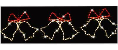 3 Piece 165cm Red & Warm White LED Bells Rope Light Xmas Lights Indoor Outdoor C