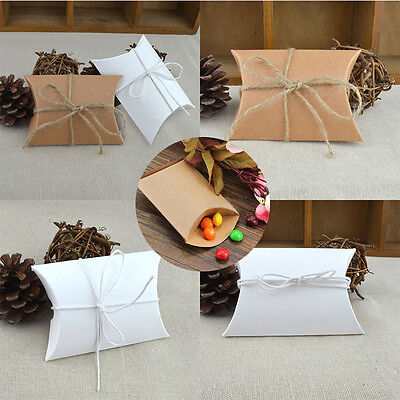 10/50/100X Pillow Favor Candy Boxes Kraft Paper Gift Box Wedding Party Favour