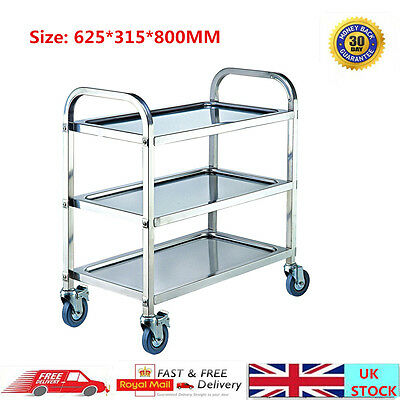 3 Tiers Stainless Steel Kitchen Island Trolley Cart Dinning Serving Utility 80CM