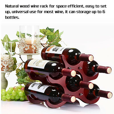Red Wine Rack Shelf 6 Bottle Butterfly Natural Wood Liquor Holder Storage Decor