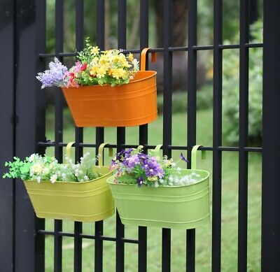 Set of 3 Metal Hanging Plant Pot Flower Pot With Drainage Hole Fence Balcony