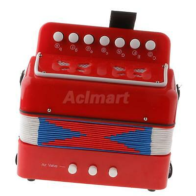 High Quality Children Kids 7 Button Accordion Musical Instrument Toy Red