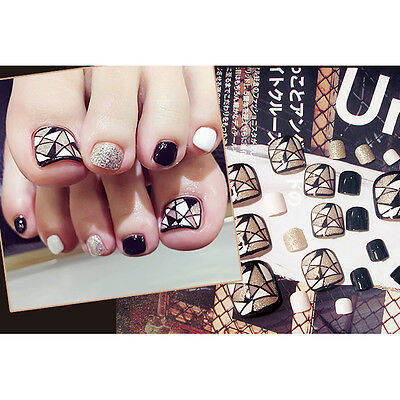 24pcs Lattice Pattern False Toe Nails French Full Toenails Feet Nails Cover Art