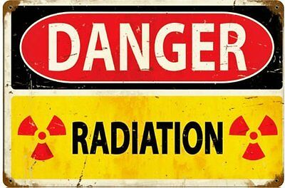 Danger Radiation rusted steel sign   450mm x 300mm  (pst 1812)