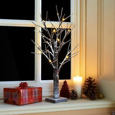 Snowy Light-Up Twig Tree 60cm-2ft Christmas Warm White Led Lights Winter Snow