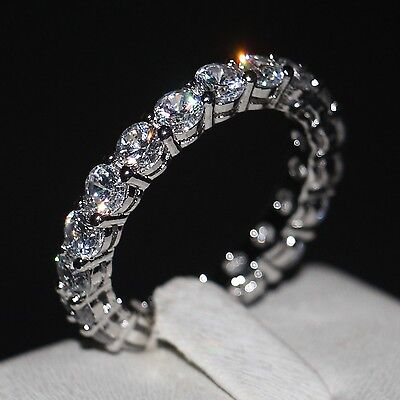 Valuable Women 4mm White sapphire Cz 925 Silver Engagement Wedding Band Ring