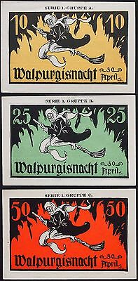 "KAHLA 1921 ""Walpurgisnacht"" Witch on Broomstick! Halloween Notgeld Germany rare"
