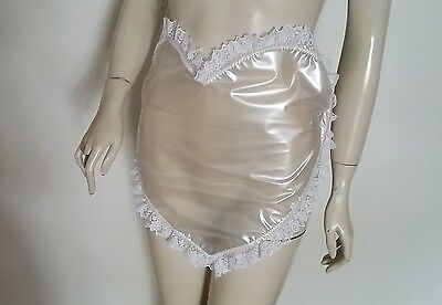PVC Apron Pinny Heart Overall Sissy Maid Roleplay Fantasy Pearly Clear Plastic