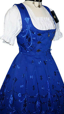 DIRNDL German Oktoberfest Dress 3pc SHORT BLUE Bavarian Trachten Garden Party