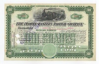 Peoria and Eastern Railway Company Stock Certificate w/train vignette