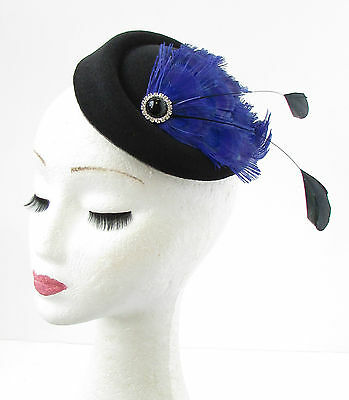 Black Royal Blue Peacock Feather Pillbox Hat Fascinator Hair Silver Races 752