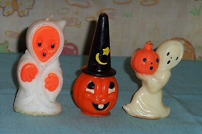 vintage Halloween GURLEY & SUNI CANDLE LOT OF 3 jack-o-lantern in hat & 2 ghosts