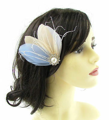 Light Blue Cream Ivory White Silver Feather Fascinator Hair Clip Bridal Vtg 758