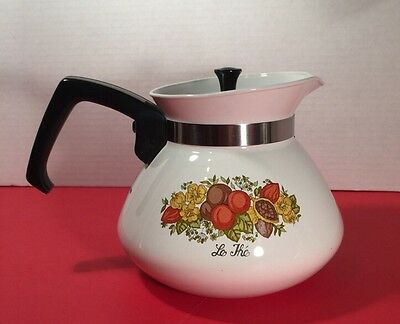 Vintage 6 Cup Spice Of Life Teapot with Stainless Lid EC P-104 CorningWare