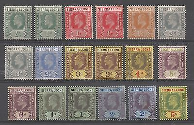 Sierra Leone 1907-12  Evii Mint Selection Of 18 To 5/- Mint Cat £257