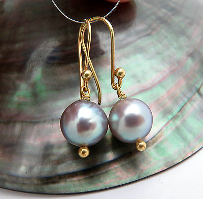 Gorgeous Solid 18K Gold Aa+ Sea Of Cortez Silver Rainbow Pearl Earrings