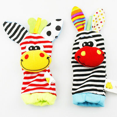 1 Pairs Baby Foot Wrist Rattle Socks Set Sensory Toy UK