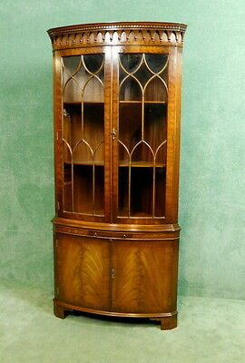 Bevan Funnell Reprodux Mahogany Bow Front Corner Cabinet  ( V795 )