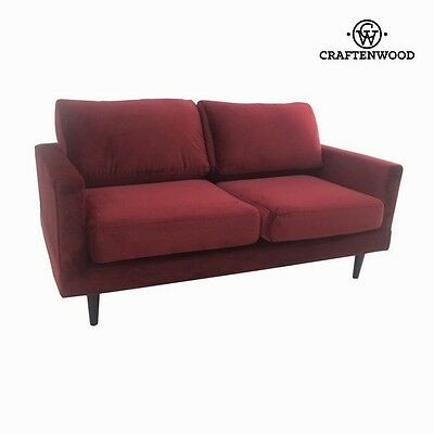 Retro Cos Burgundy 2 Seats Sofa Red Velvet Wood - 2017 Collection By CraftenWood