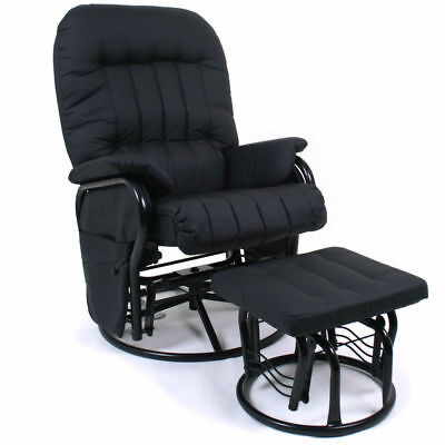 Valco Baby Black Relax Glider Breast Feeding Rocking Chair Recliner w/Ottoman