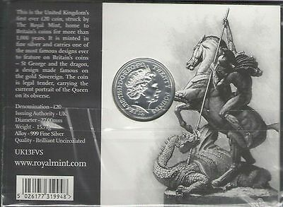 2013 UK(British) Royal MINT £20 for £20 St. George & the Dragon Fine SilverCoin
