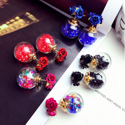 Korean Fashion Women's Double Sides Rose Crystal Ball Ear Stud Earrings Gift Jewelry & Watches