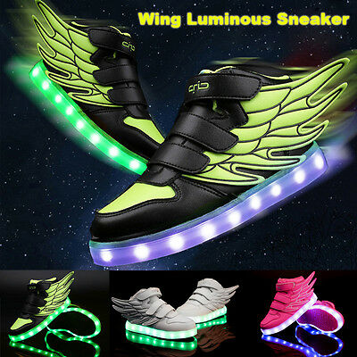 USA Students LED RGB Lace Up Luminous Boys Girls Wings Sneaker Kids Casual Shoes
