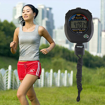 Waterproof Digital LCD Stopwatch Chronograph Timer Counter Sports Alarm SW