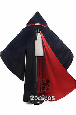 Unisex Velvet Gothic Kimono Sleeve Hooded Cloak Wicca Robe Witchcraft Larp Cape