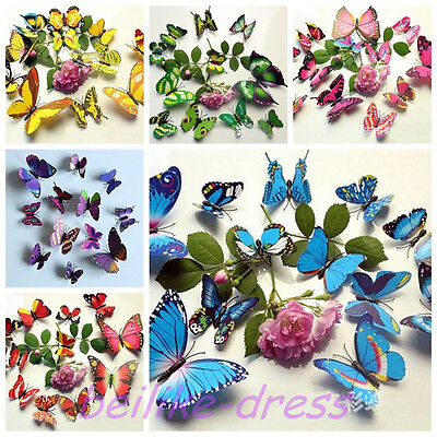 New Beautiful Romantic Cute Multi-Color Bed Room Wall Sticker Decor 3D Butterfly