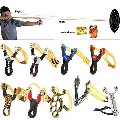 High Velocity Powerful Slingshot Hunting Catapult Stainless Steel Sling Shot Bow