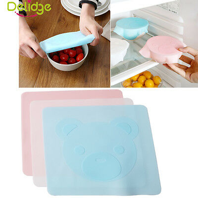 Reusable Silicone Food Fresh Keeping Wraps Lid Cover Stretch Microwave Oven Seal