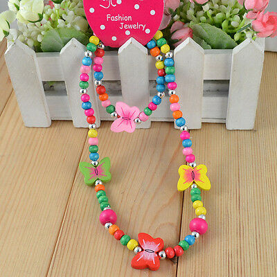 1 Set Fashion Children Jewelry Girl's Butterfly Wood Beads Necklace Bracelet