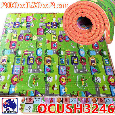 20mm 2mx1.8m Thick Baby Play Mat Floor Rug Picnic Cushion Crawling Kid OCUSH3246