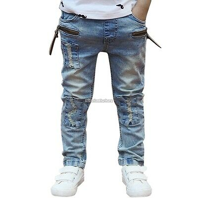 Korrean Children Kids Boy Casual Denim Long Straight Jeans Pants Trousers N98B