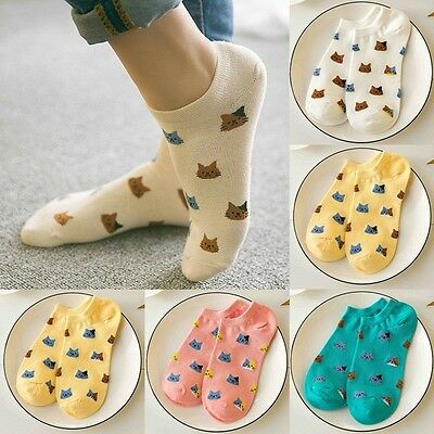 4 Pairs Fashion Women's Sports Casual Cute Cat Ankle High Low Cut Cotton Socks