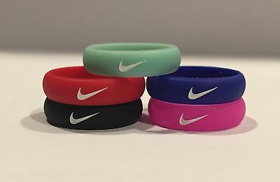 Women's Nike 5/pcs silicone rubber ring band gym crossfit outdoor ring swoosh