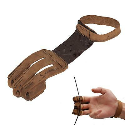 Archery Protect Gloves 3 Fingers Pull Bow Arrow Leather Shooting Hunting Gloves